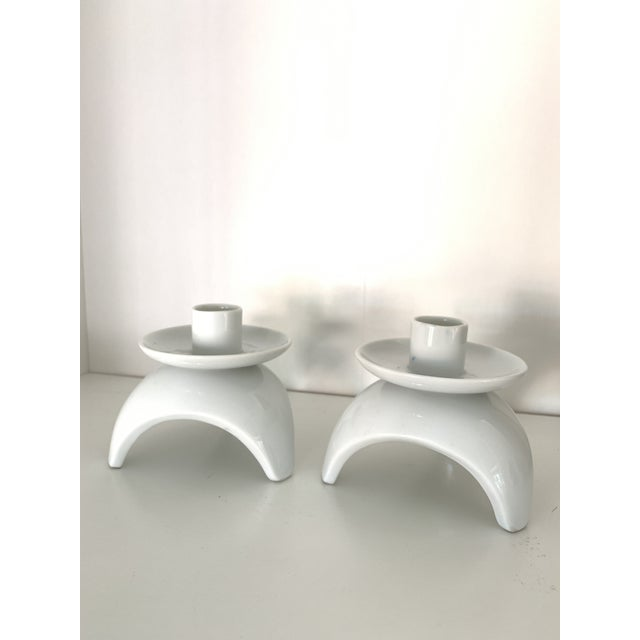 Ceramic Mid-Century Japanese White Candlesticks- a Pair For Sale - Image 7 of 7