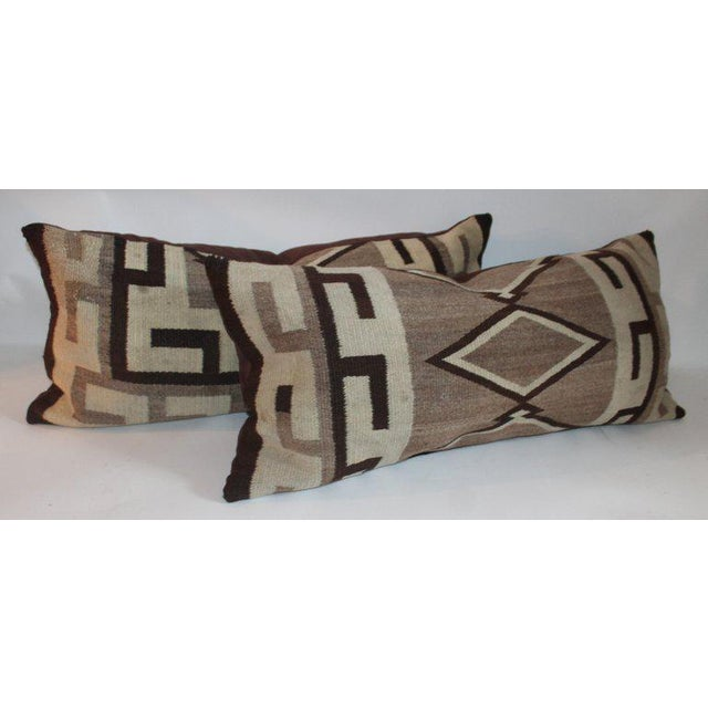 Early 21st Century Navajo Indian Weaving Diamond Bolster Pillow For Sale - Image 5 of 6