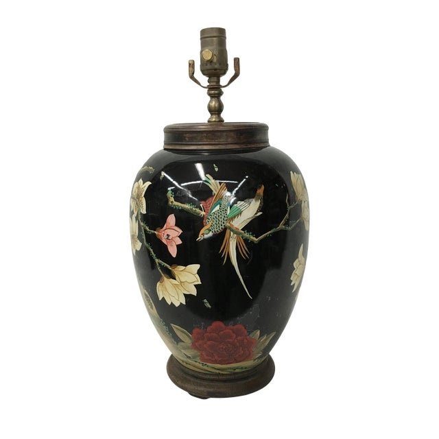 1970's Handpainted Swallows & Lotus Flower Lamp For Sale