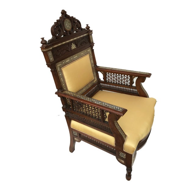 Museum Piece 19th C Middle Eastern Armchair W/Mother Pearl For Sale In New York - Image 6 of 10