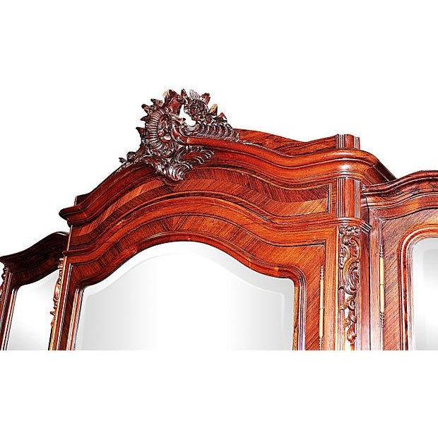 Antique French Rosewood 3-Door Armoire - Image 2 of 7