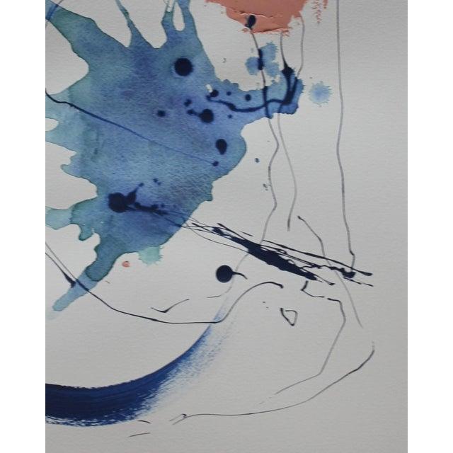 Abstract III, Indigo Watercolor Painting - Image 2 of 3