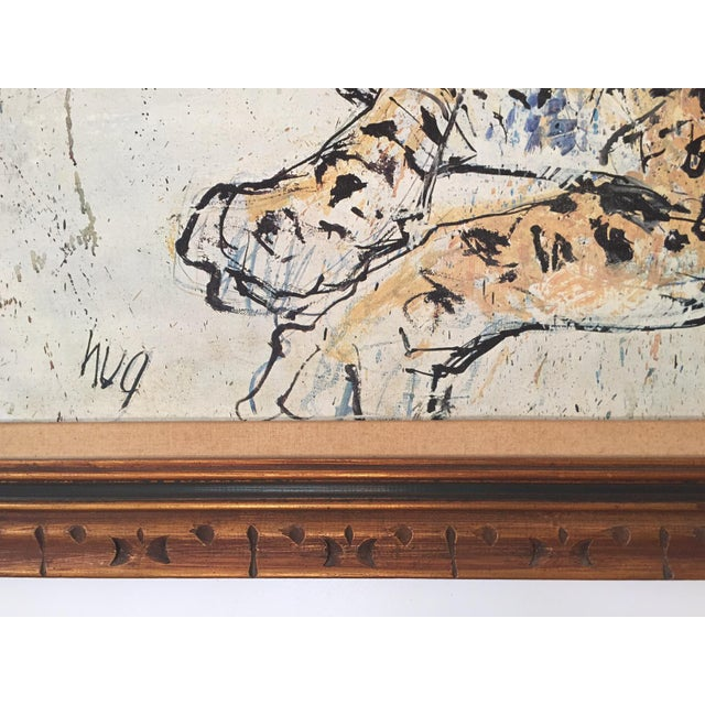 1970s Vintage Leopard Lithograph on Canvas - Image 8 of 10