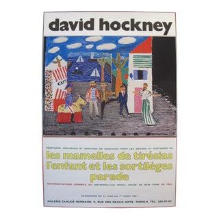 """1981 Original Exhibition Poster - """"Les Mamelles De Tirésias"""", David Hockney, Galerie Claude Bernard For Sale"""