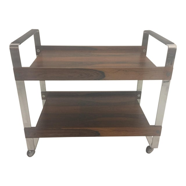 Mid Century Modern Rosewood and Chrome Bar Cart For Sale