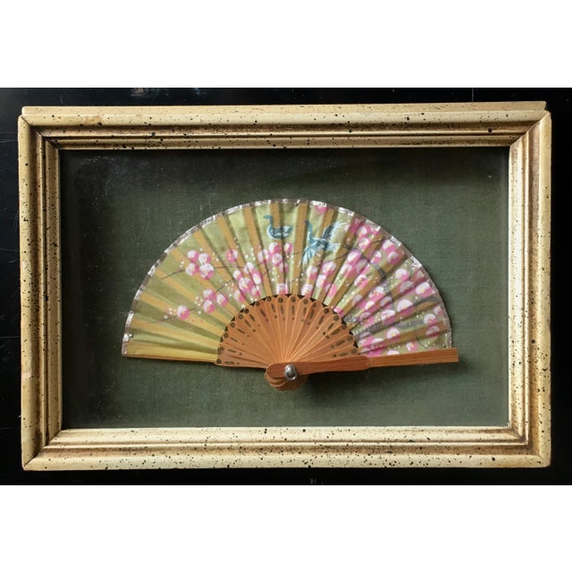 Asian Small Chinese Silk Fan Shadow Box For Sale - Image 3 of 3
