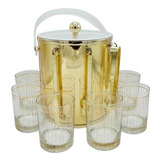 Golden Pinstriped Low Ball Cocktail Glasses (6) & Champagne Bucket With Bar Tools For Sale