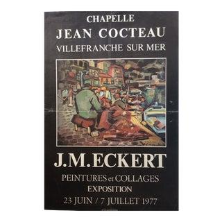 Jean Cocteau Chapelle Original Exhibition Poster Signed by the Artist J. M. Eckert For Sale