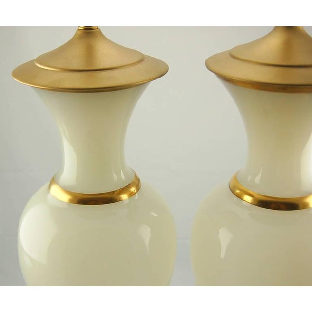 1950s Vintage Murano Opaline Glass Table Lamps White Gold For Sale - Image 5 of 8