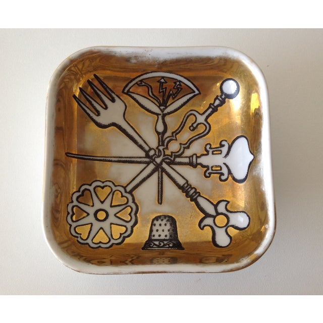 Vintage; Italian c.1955, original Piero Fornasetti, hand-painted, gilt accent dish, or ashtray, from the series...