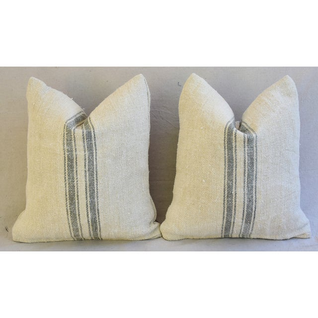 Custom French Gray Stripe Gain Sack Feather/Down Pillows - Pair - Image 8 of 8