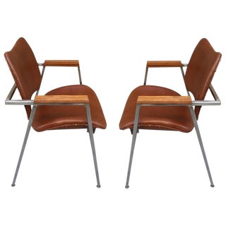 Pair Industrial Chairs w/ Leather Seats For Sale