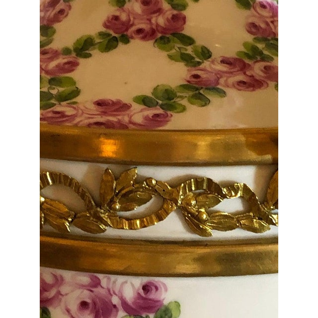 1910s French Table Lamp Trellis Floral Porcelain Urn With Rams Head Gilt Bronze Mounts For Sale - Image 5 of 13