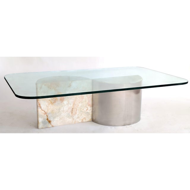 Karl Springer Aluminum and Onyx Coffee Table For Sale - Image 4 of 7