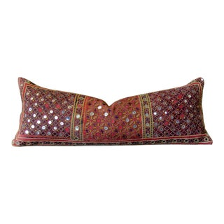 Embroidered Reshmi Sutra Lumbar Pillow For Sale
