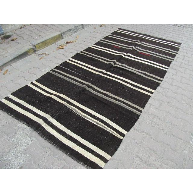 "Vintage Striped Kilim Rug - 5'1"" x 10'5"" For Sale - Image 4 of 6"