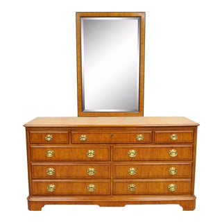 Drexel Heritage Yorkshire Yew Wood Banded Ebony Long Dresser Chest and Mirror For Sale