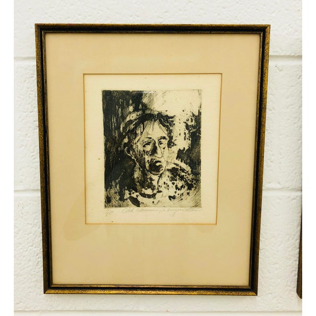 Stunning Set of 2 Original Works of Art on Paper. Signed by Artist J Higginbottom. One portrait is a black and white of an...