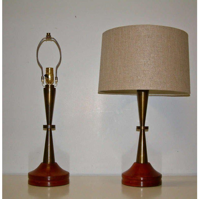 Mid-Century Modern Bronze and Primavera Finish Wood Base Lamps - A Pair For Sale - Image 3 of 8