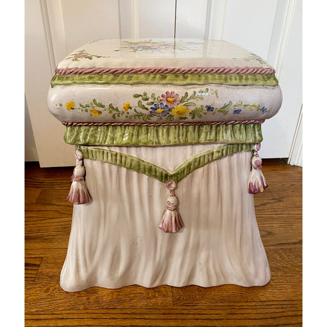 Italian Hand Painted Terracotta Garden Stool For Sale - Image 13 of 13