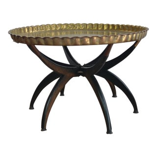 Moroccan Brass Tray Coffee Table For Sale