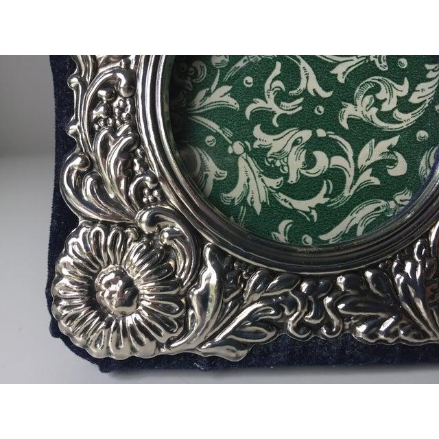 Vintage Silver Ornate Velvet Back Frame - Image 4 of 6