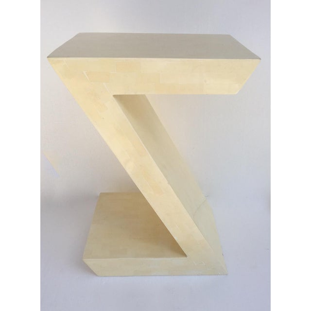 """Wood Karl Springer Attr. Inlaid Bone Tessellated """"Zig-Zag"""" Side/End Table For Sale - Image 7 of 13"""