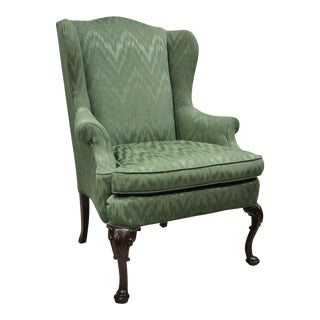 Late 20th Century Vintage Queen Anne Style Green Upholstered Wingback Chair For Sale