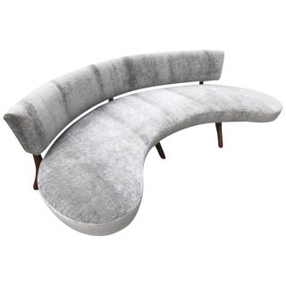 Mid-Century Floating Curved Sofa For Sale