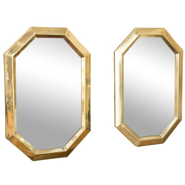 Brass Octagonal Mirrors - A Pair - Image 1 of 11