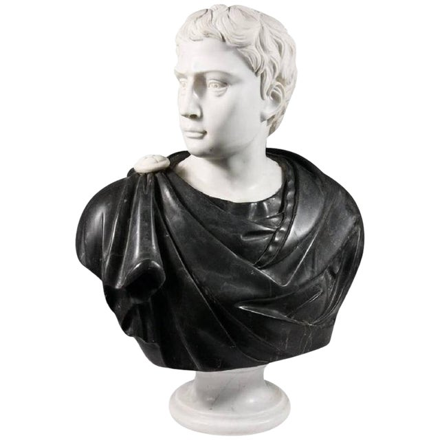 Late 19th Century Black and White Italian Marble Bust of Roman Statesman For Sale