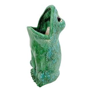 Vintage Mid Century Ceramic Hobnail Frog Umbrella Stand For Sale