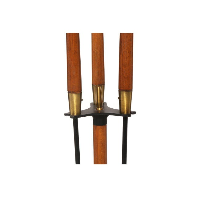 Walnut Iron and Brass Fireplace Tools For Sale - Image 4 of 5