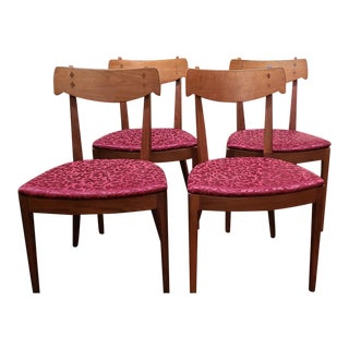 Mid-Century Modern Walnut Dining Chairs - Set of 4 For Sale