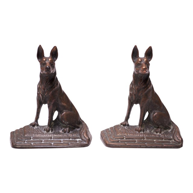 Pair of 1920s Art Colony Industries Cast Iron 'German Shepherd' Bookends For Sale