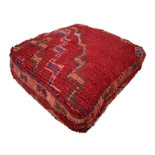 Vintage Red Moroccan Unstuffed Pouf Cover For Sale