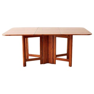 Mid Century Drop-Leaf Dining Table With Rattan Base For Sale