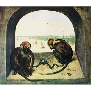 1950s Bruegel Two Monkeys Lithograph For Sale
