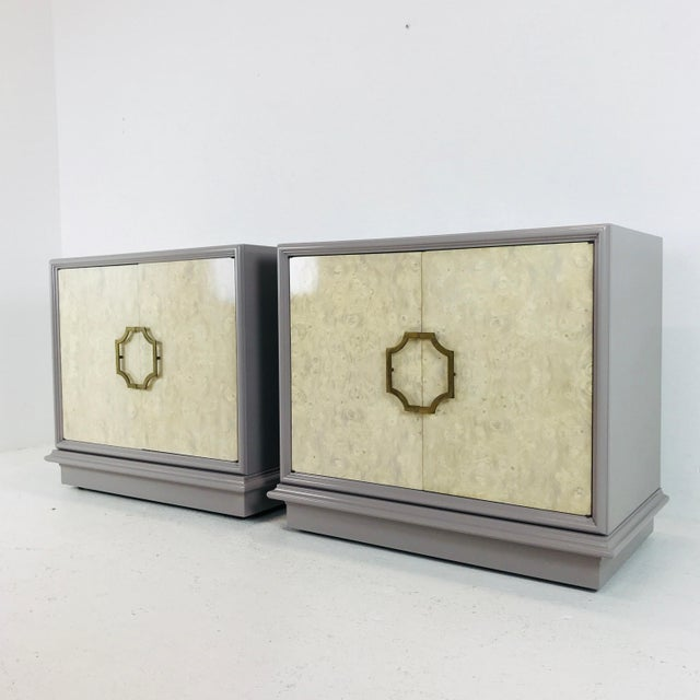 Pair of Mastercraft bachelor burl and lacquer cabinets. The burl wood has been bleached and the cabinets have a beautiful...