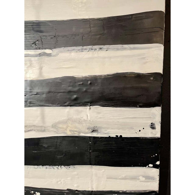 "Lynn Basa Encaustic Black and White Stripe Panel ""Not So Simple"" 2012 For Sale - Image 4 of 12"
