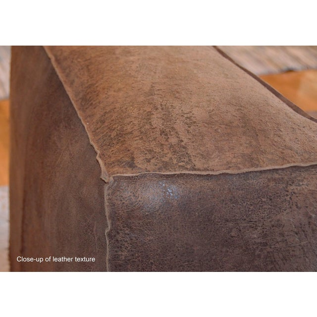 Restoration Hardware, chocolate brown, distressed suede/leather sectional. Industrial, chunky, box style seating with...