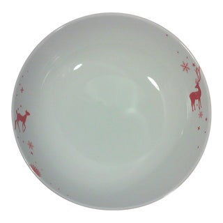 Winter Lodge Red Porcelain Serving Bowl For Sale