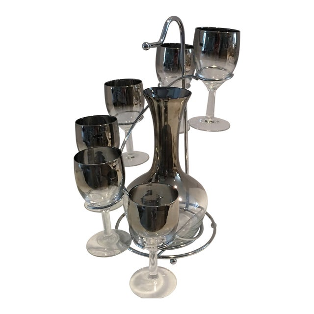 Vintage Mid Century Wine Decanter & Glasses- 7 Pieces For Sale