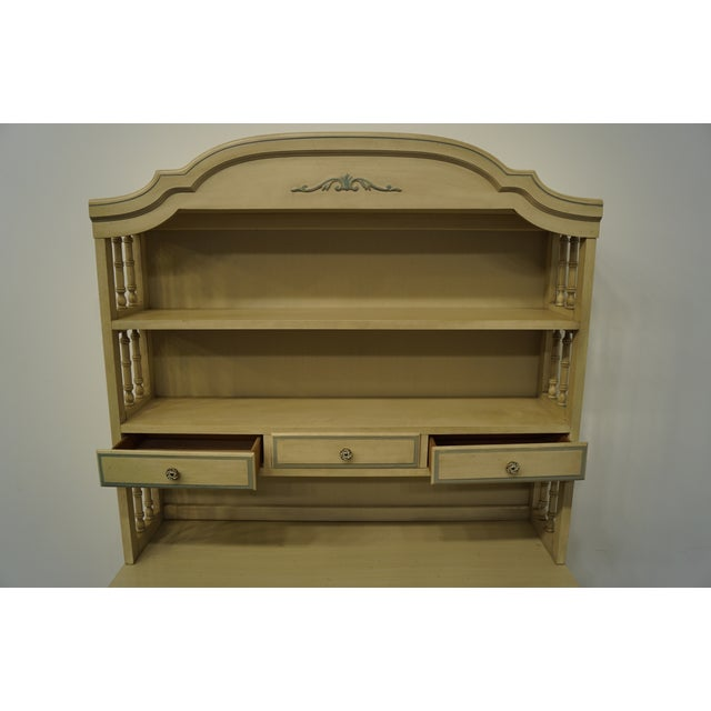 French Provincial Dixie Furniture Cream Painted Double Dresser with Bookcase Hutch For Sale In Kansas City - Image 6 of 11