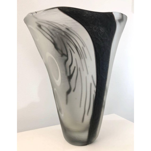 Glass Contemporary Modern Black White and Crystal Clear Murano Glass Sculptural Vase For Sale - Image 7 of 13