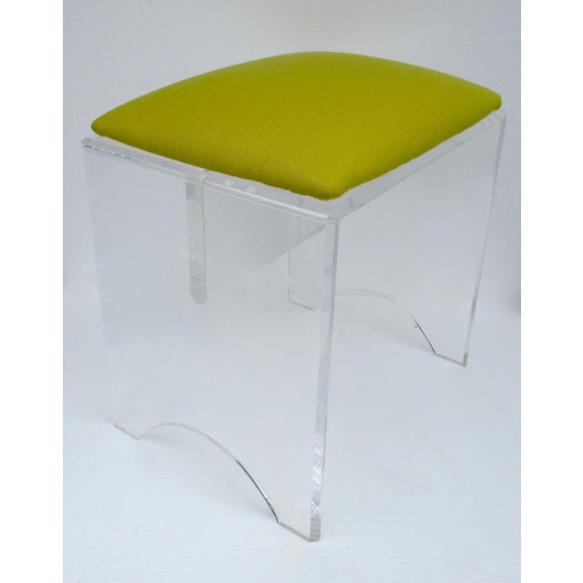 Vintage: Mid-Century, thick lucite bench or low stool, in a Indoor/Outdoor Sunbrella strie , with the effervescent...
