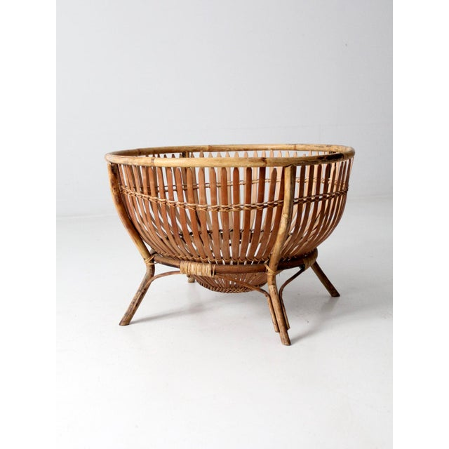 Mid-Century Rattan Basket For Sale - Image 9 of 13