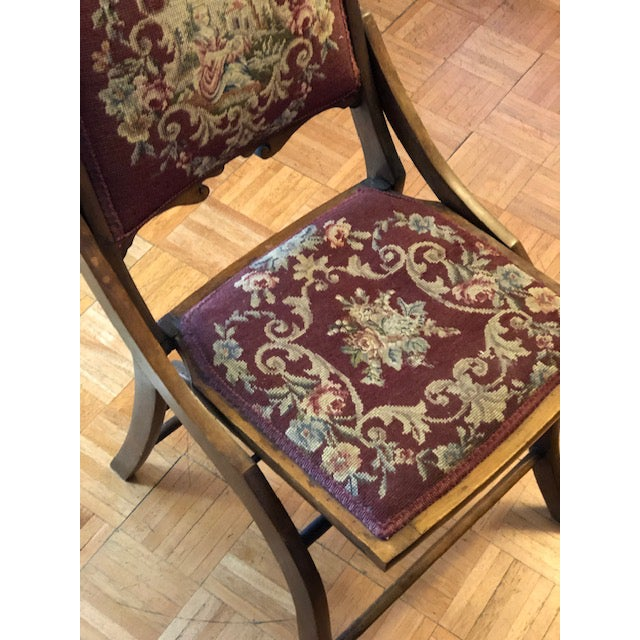1900s Antique Victorian Tapestry Folding Chair For Sale - Image 10 of 13
