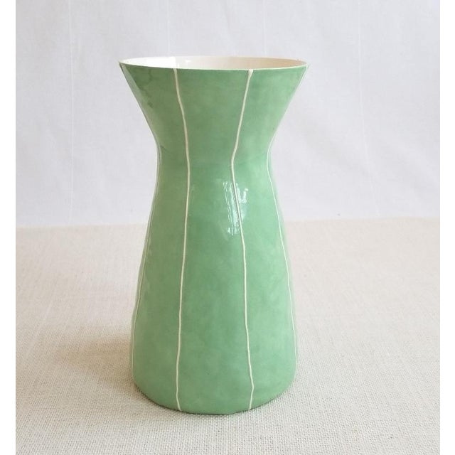 Contemporary Light Green Ceramic Vase For Sale - Image 4 of 5