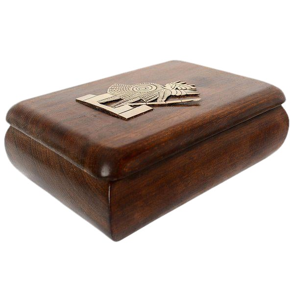 Mahogany With Silver Emblem Jewelry Box For Sale